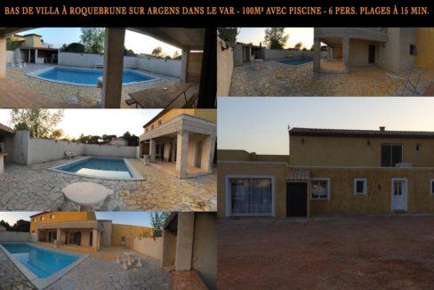Bas de Villa à Roquebrune sur Argens dans le Var - 6 couchages - 100m carré avec piscine